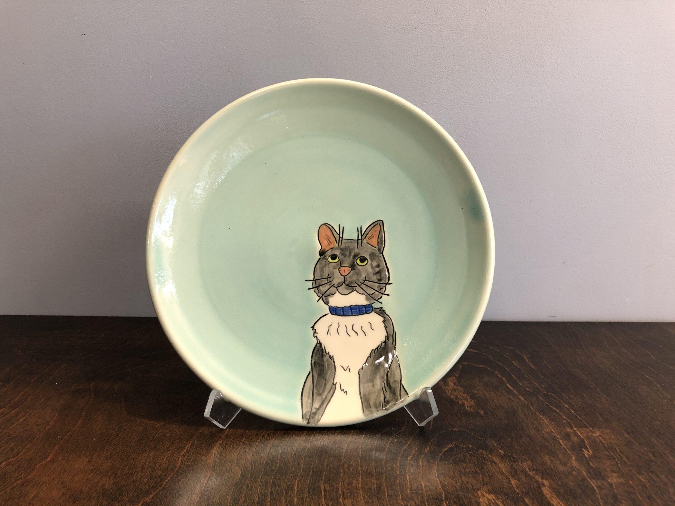 handmade custom pet portrait plate asheville